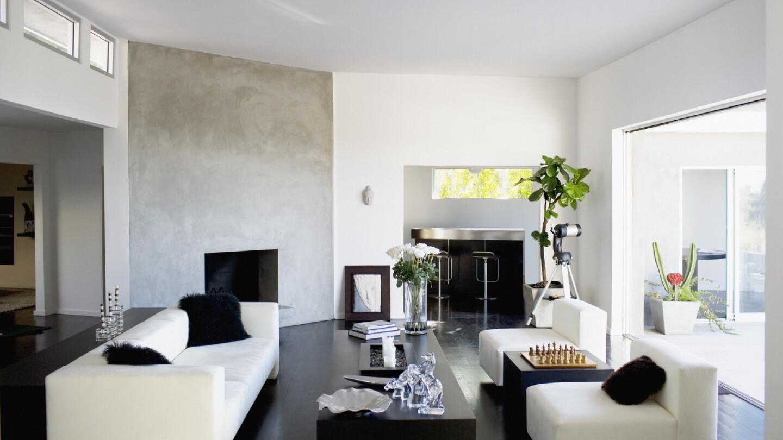 Светлый черно-белый интерьер с цветами искусственными