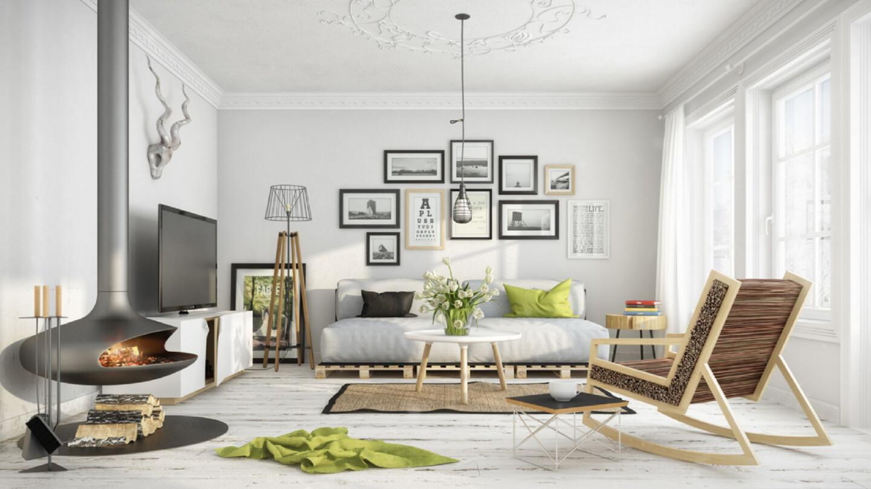 Веселый черно-белый интерьер с цветами и растениями искусственными