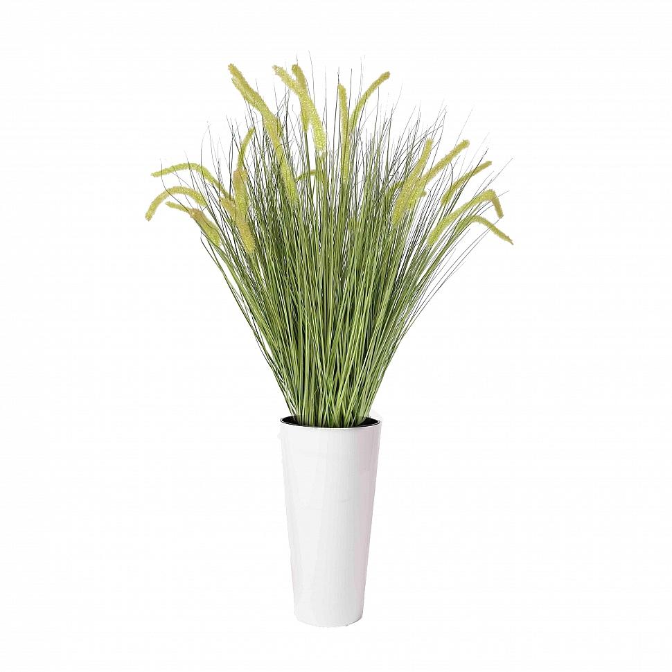 Трава искусственная Пеннисетум с зелеными колосками в кашпо