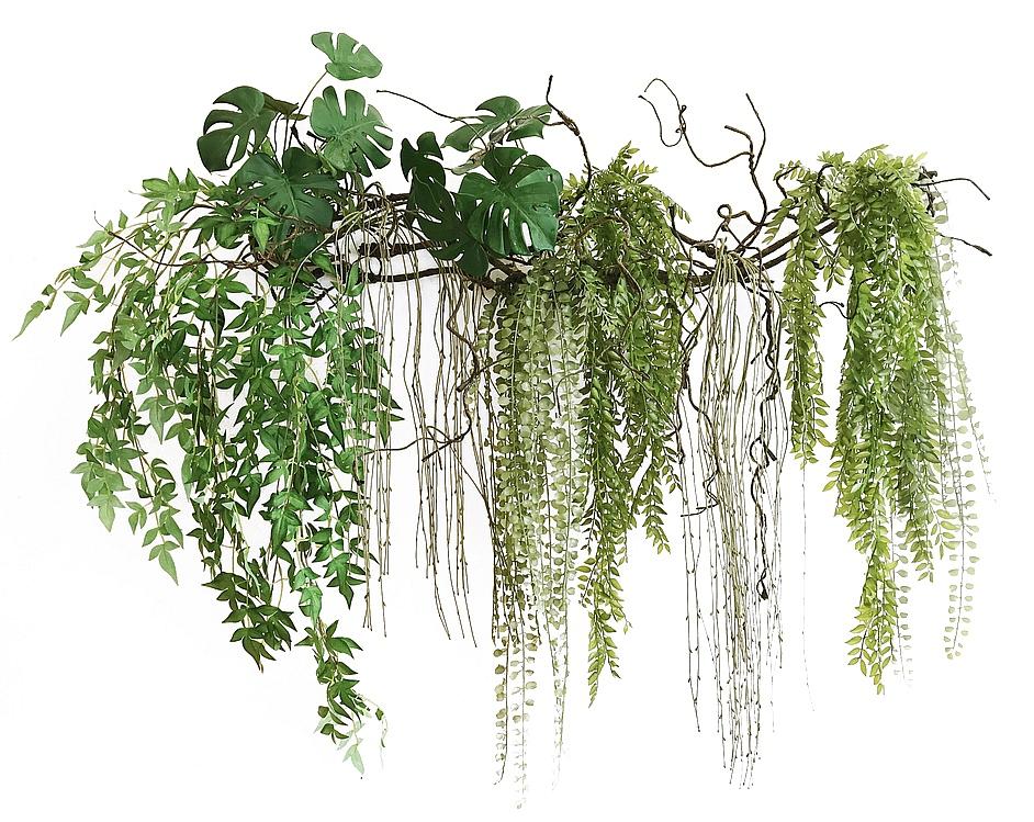 Фитопанно из искусственных растений на коряг