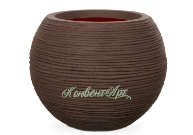 Кашпо CAPI Nature Vase Ball Rib 25Dx33H Коричневый