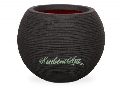 Кашпо CAPI Nature Vase Ball Rib 42Dx48H Черный