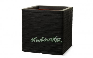 Кашпо CAPI Nature Planter Square Row 31x31x31H Черный