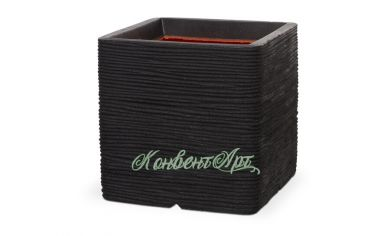 Кашпо CAPI Nature Planter Square Rib 31x31x31H Черный
