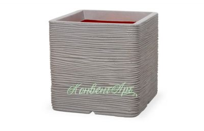 Кашпо CAPI Nature Planter Square Rib 31x31x31H Серый
